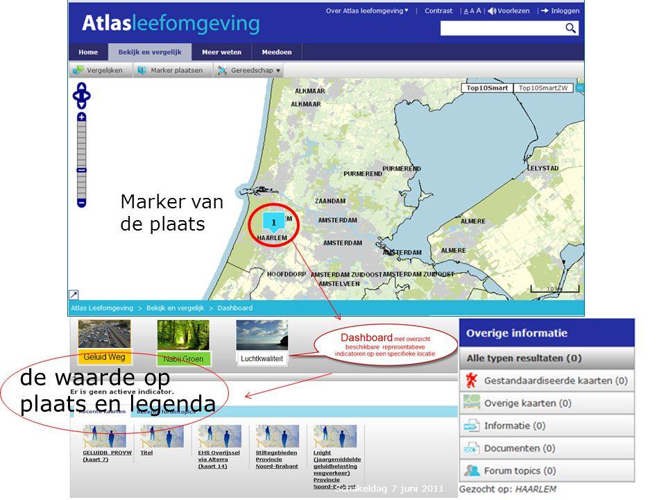 Marker van de plaats de waarde op plaats en legenda Schakeldag 7 juni 2011