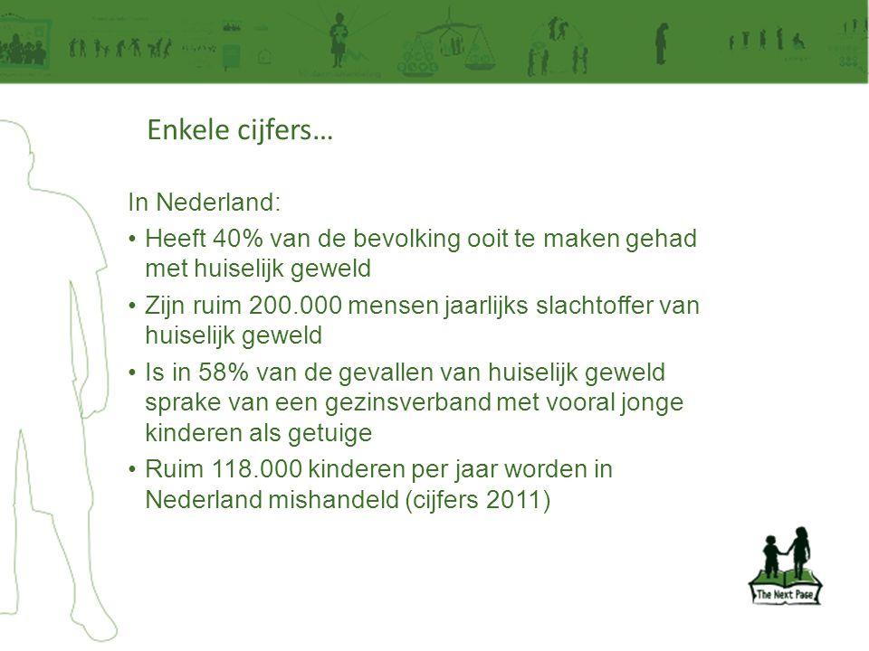 Enkele cijfers… In Nederland: •Heeft 40% van de bevolking ooit te maken gehad met huiselijk geweld •Zijn ruim 200.000 mensen jaarlijks slachtoffer van