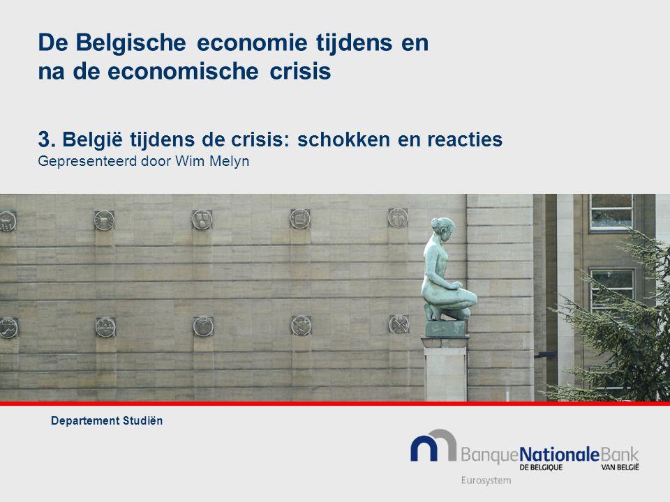 De Belgische economie tijdens en na de economische crisis 3. België tijdens de crisis: schokken en reacties Gepresenteerd door Wim Melyn Departement S