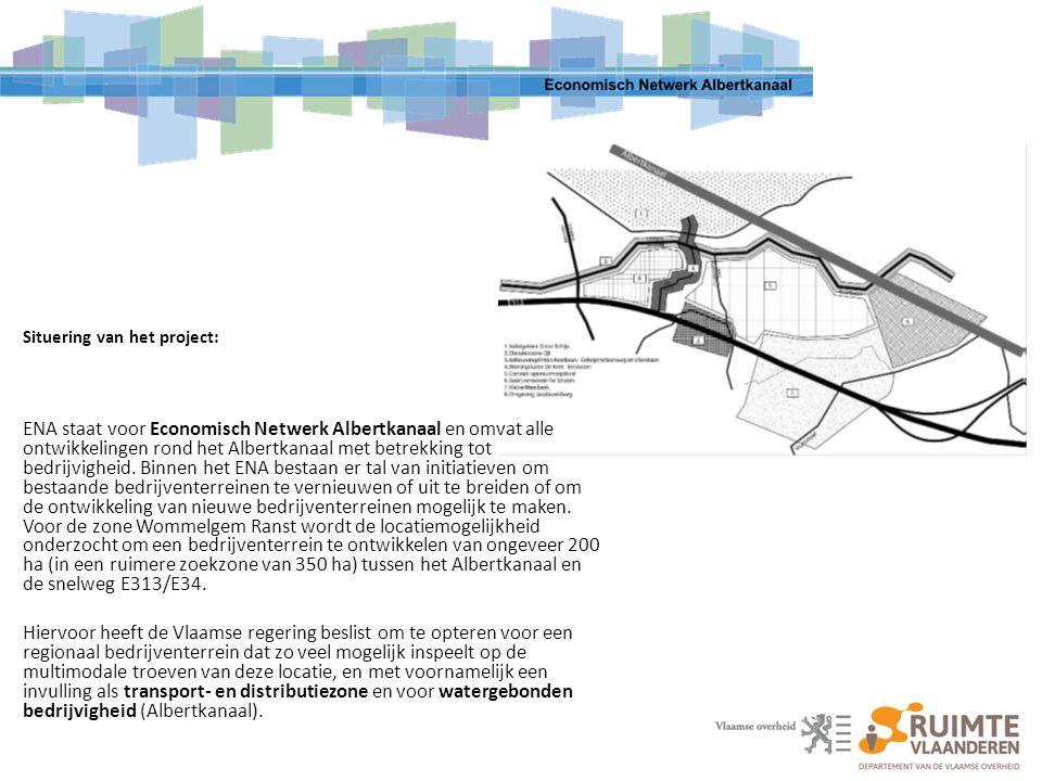 Situering van het project: ENA staat voor Economisch Netwerk Albertkanaal en omvat alle ontwikkelingen rond het Albertkanaal met betrekking tot bedrij