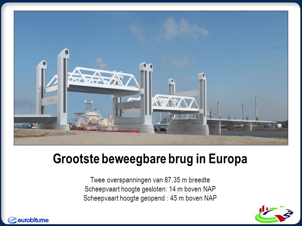 Grootste beweegbare brug in Europa Twee overspanningen van 87,35 m breedte Scheepvaart hoogte gesloten: 14 m boven NAP Scheepvaart hoogte geopend : 45 m boven NAP