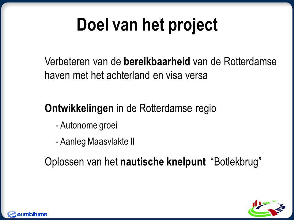 Doel van het project Verbeteren van de bereikbaarheid van de Rotterdamse haven met het achterland en visa versa Ontwikkelingen in de Rotterdamse regio - Autonome groei - Aanleg Maasvlakte II Oplossen van het nautische knelpunt Botlekbrug