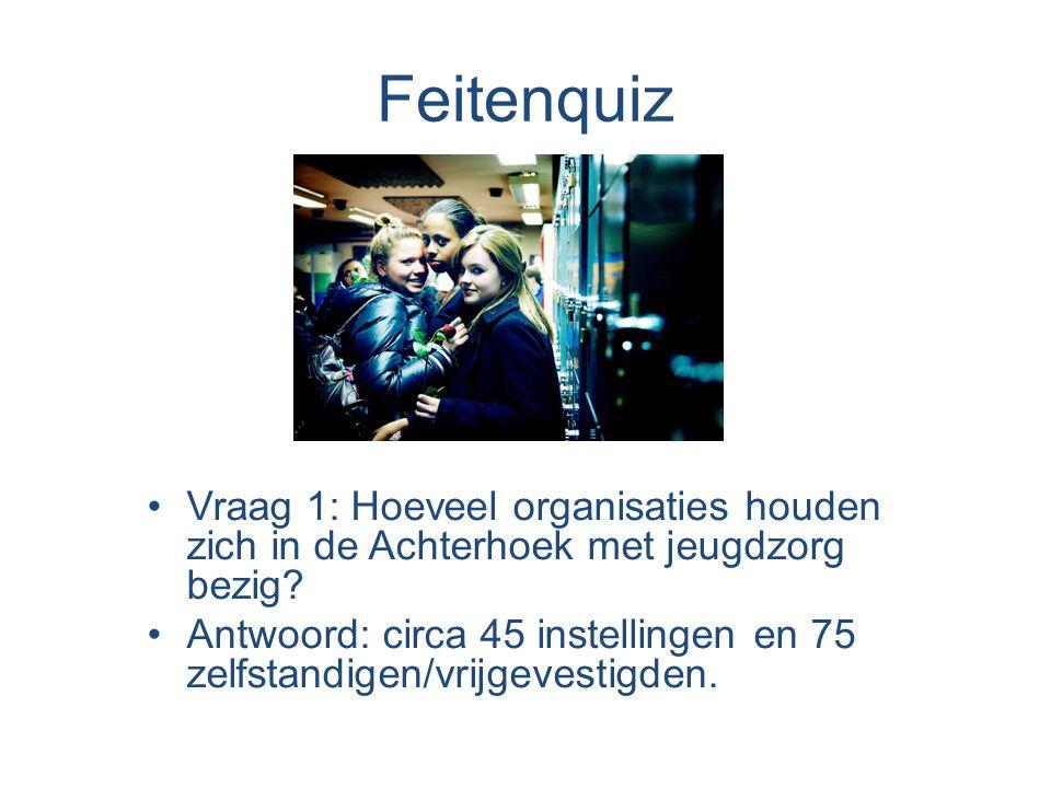 Feitenquiz •Vraag 1: Hoeveel organisaties houden zich in de Achterhoek met jeugdzorg bezig.