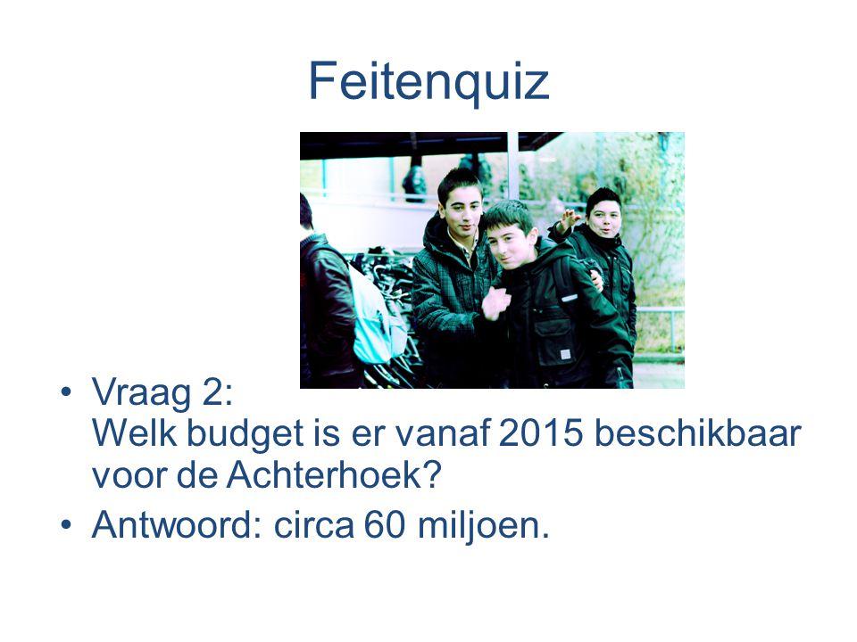 Feitenquiz •Vraag 2: Welk budget is er vanaf 2015 beschikbaar voor de Achterhoek.
