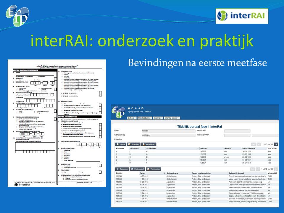 interRAI: onderzoek en praktijk Bevindingen na eerste meetfase