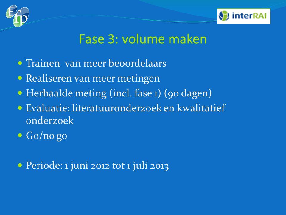 Fase 3: volume maken  Trainen van meer beoordelaars  Realiseren van meer metingen  Herhaalde meting (incl. fase 1) (90 dagen)  Evaluatie: literatu