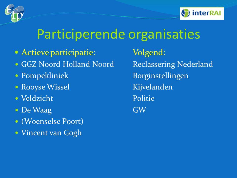 Participerende organisaties  Actieve participatie:Volgend:  GGZ Noord Holland NoordReclassering Nederland  PompekliniekBorginstellingen  Rooyse Wi
