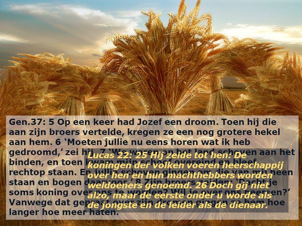 Gen.37: 5 Op een keer had Jozef een droom. Toen hij die aan zijn broers vertelde, kregen ze een nog grotere hekel aan hem. 6 'Moeten jullie nu eens ho