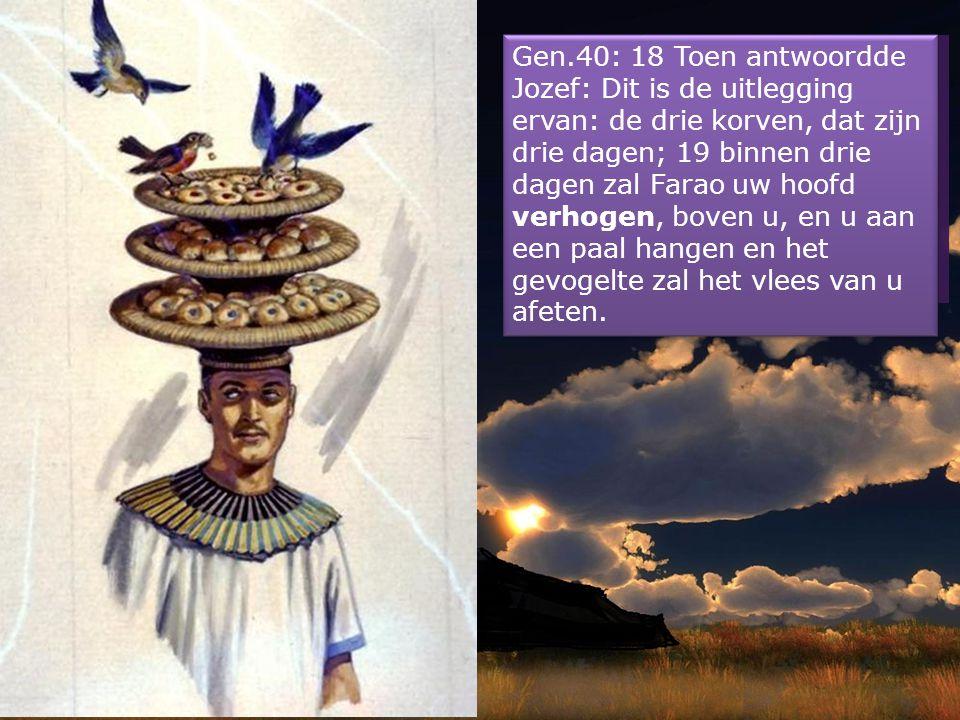 Gen.40: 16 Ook ik had een droom: zie, er waren op mijn hoofd drie korven met gebak. 17 In de bovenste korf was allerlei spijs voor Farao, wat een bakk