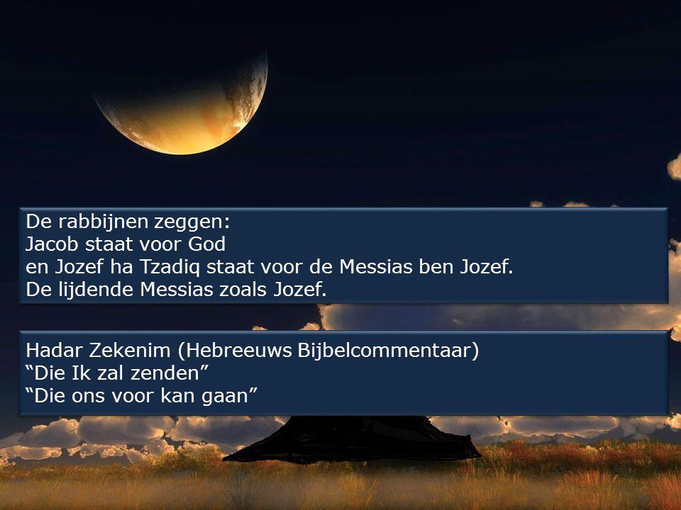 De rabbijnen zeggen: Jacob staat voor God en Jozef ha Tzadiq staat voor de Messias ben Jozef. De lijdende Messias zoals Jozef. Hadar Zekenim (Hebreeuw