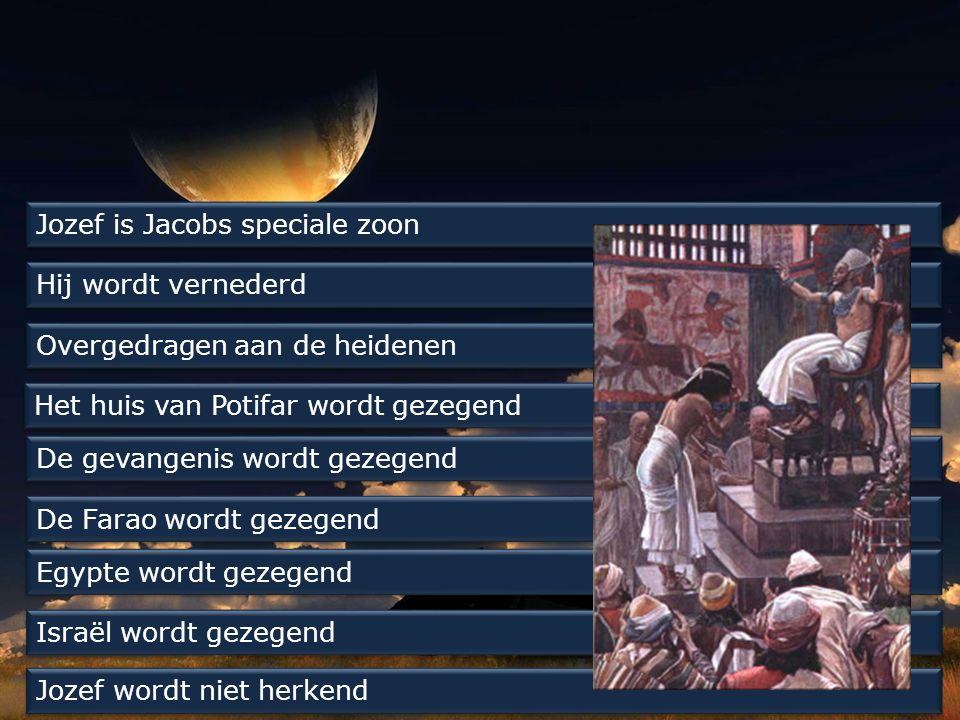Jozef is Jacobs speciale zoon Hij wordt vernederd Overgedragen aan de heidenen Het huis van Potifar wordt gezegend De gevangenis wordt gezegend De Farao wordt gezegend Egypte wordt gezegend Israël wordt gezegend Jozef wordt niet herkend
