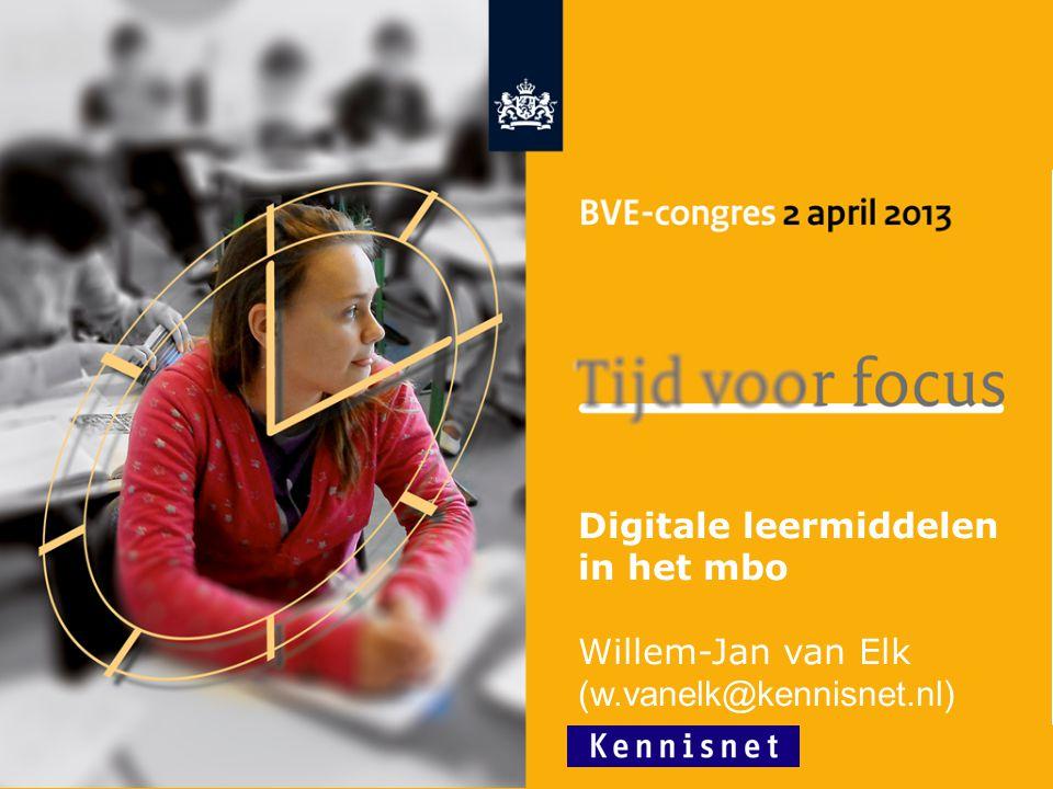 1 Digitale leermiddelen in het mbo Willem-Jan van Elk (w.vanelk@kennisnet.nl)