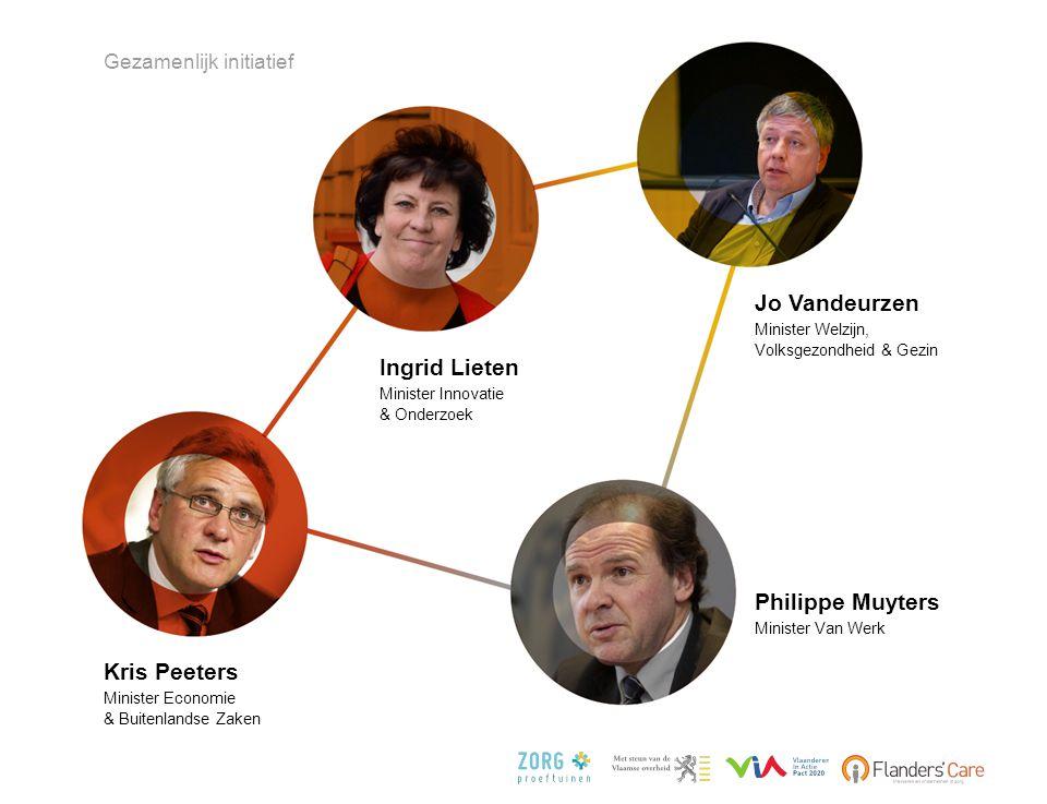 Ingrid Lieten Minister Innovatie & Onderzoek Jo Vandeurzen Minister Welzijn, Volksgezondheid & Gezin Kris Peeters Minister Economie & Buitenlandse Zak