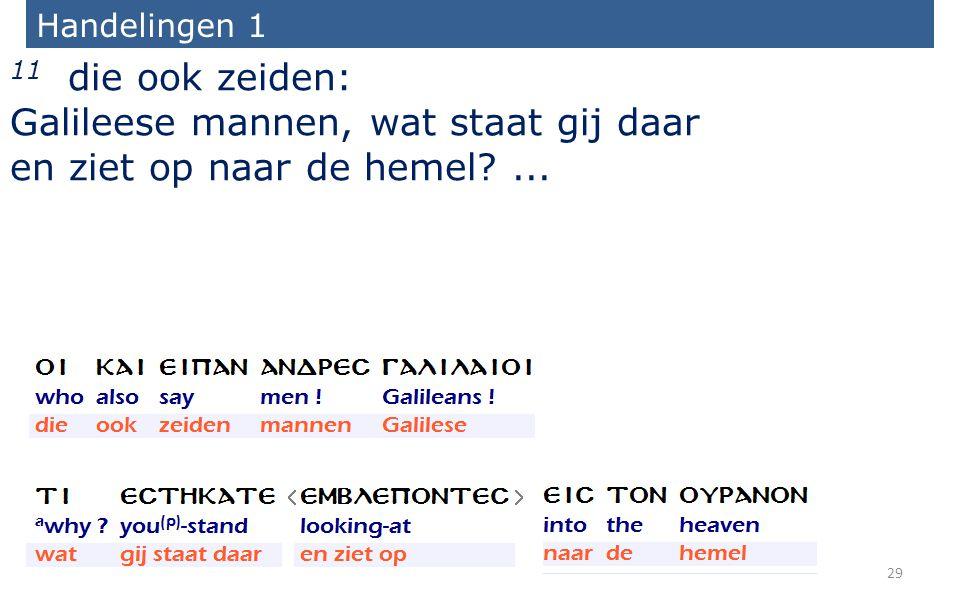 Handelingen 1 11 die ook zeiden: Galileese mannen, wat staat gij daar en ziet op naar de hemel ...