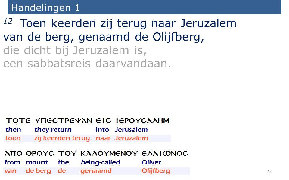Handelingen 1 12 Toen keerden zij terug naar Jeruzalem van de berg, genaamd de Olijfberg, die dicht bij Jeruzalem is, een sabbatsreis daarvandaan.