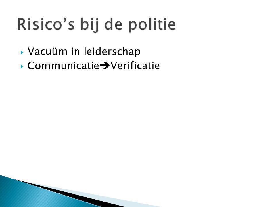  Vacuüm in leiderschap  Communicatie  Verificatie