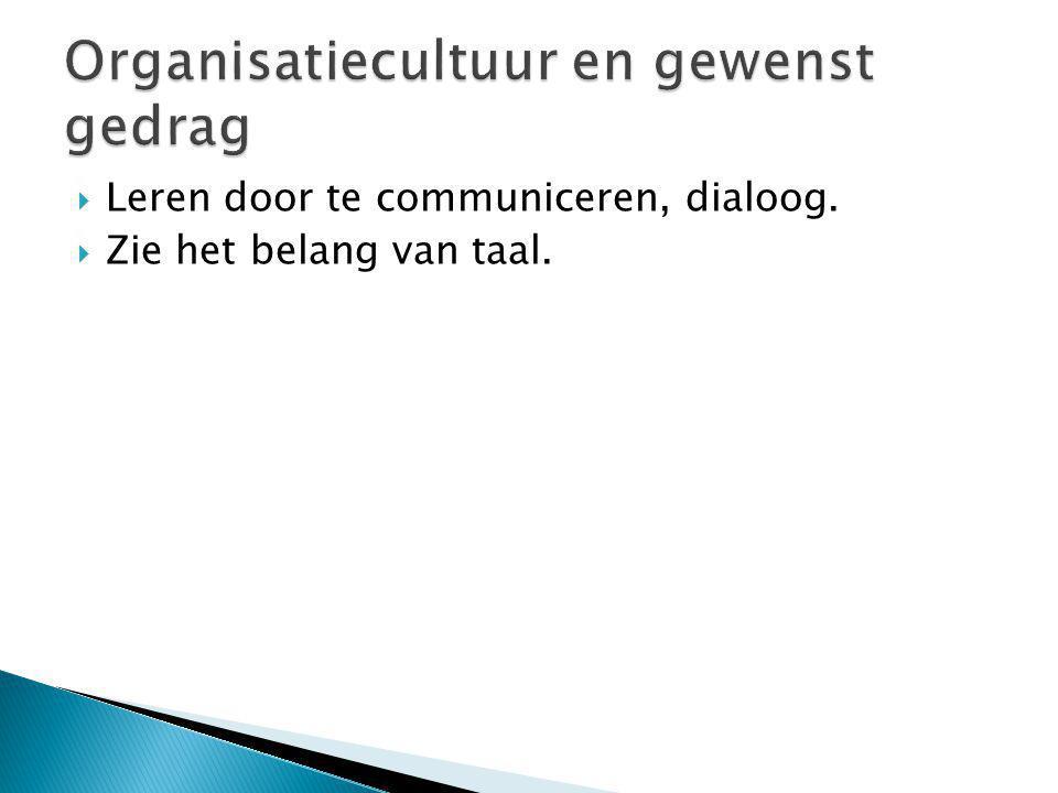  Leren door te communiceren, dialoog.  Zie het belang van taal.