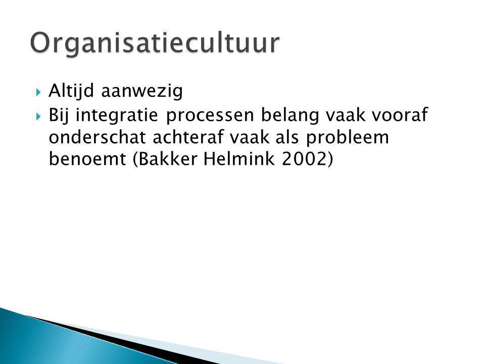  Altijd aanwezig  Bij integratie processen belang vaak vooraf onderschat achteraf vaak als probleem benoemt (Bakker Helmink 2002)