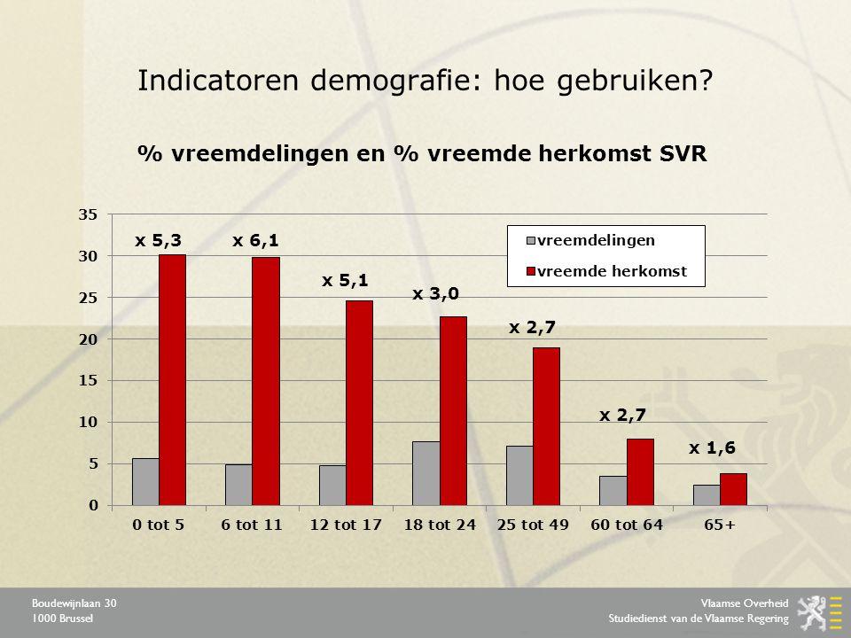 Vlaamse Overheid Studiedienst van de Vlaamse Regering Boudewijnlaan 30 1000 Brussel Indicatoren demografie: hoe gebruiken