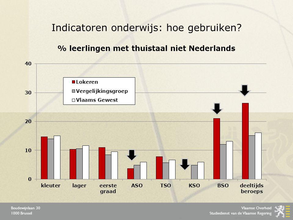 Vlaamse Overheid Studiedienst van de Vlaamse Regering Boudewijnlaan 30 1000 Brussel Indicatoren onderwijs: hoe gebruiken