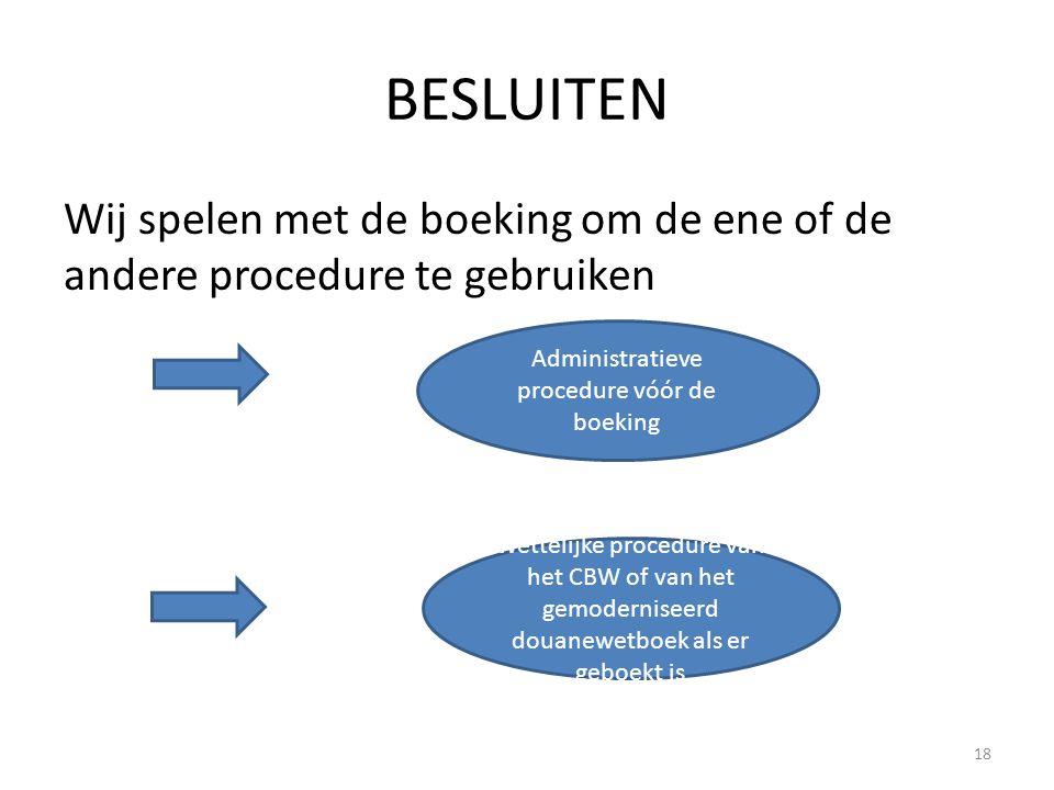 BESLUITEN Wij spelen met de boeking om de ene of de andere procedure te gebruiken 18 Administratieve procedure vóór de boeking Wettelijke procedure va