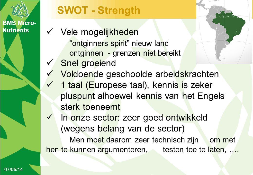 """BMS Micro- Nutrients SWOT - Strength 07/05/14  Vele mogelijkheden """"ontginners spirit"""" nieuw land ontginnen - grenzen niet bereikt  Snel groeiend  V"""