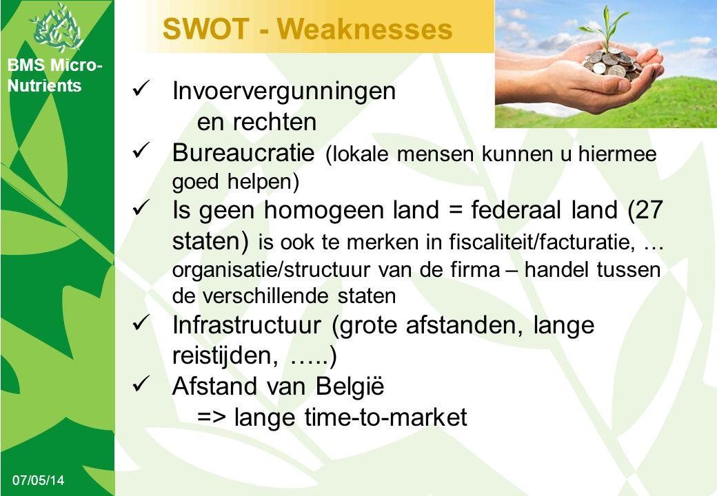 BMS Micro- Nutrients SWOT - Weaknesses 07/05/14  Invoervergunningen en rechten  Bureaucratie (lokale mensen kunnen u hiermee goed helpen)  Is geen