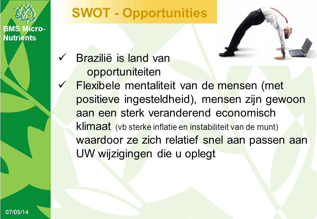 BMS Micro- Nutrients SWOT - Opportunities 07/05/14  Brazilië is land van opportuniteiten  Flexibele mentaliteit van de mensen (met positieve ingeste