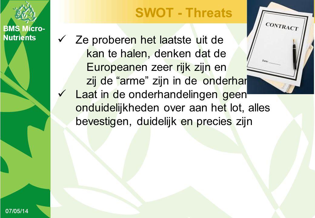 BMS Micro- Nutrients SWOT - Threats 07/05/14  Ze proberen het laatste uit de kan te halen, denken dat de Europeanen zeer rijk zijn en zij de arme zijn in de onderhandelingen  Laat in de onderhandelingen geen onduidelijkheden over aan het lot, alles bevestigen, duidelijk en precies zijn