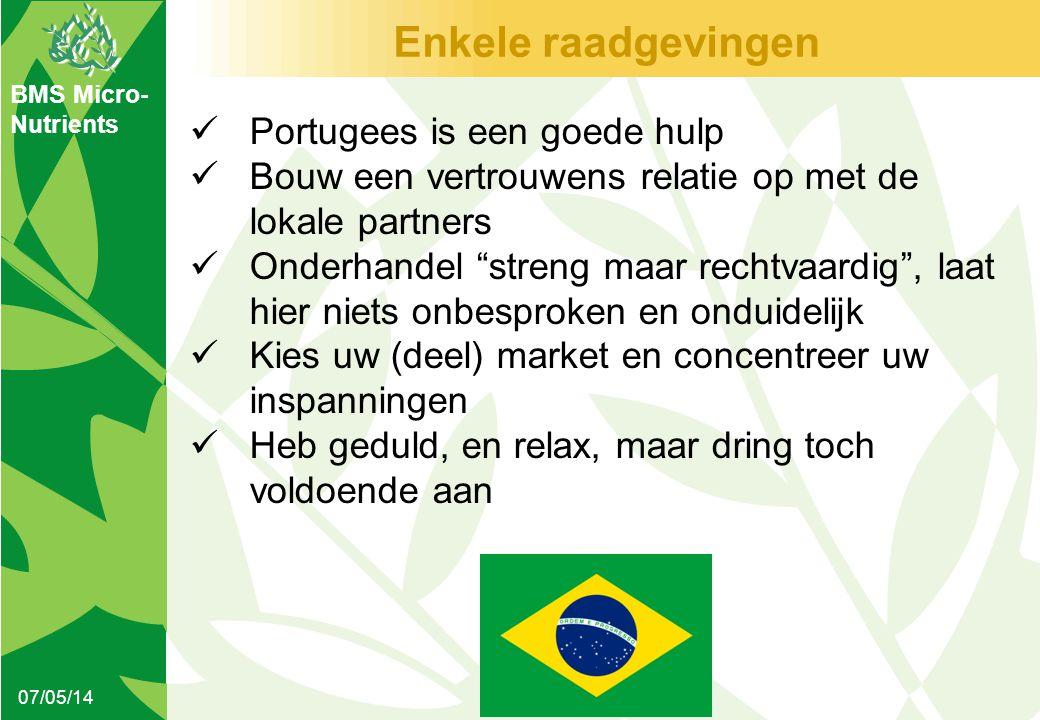 BMS Micro- Nutrients Enkele raadgevingen 07/05/14  Portugees is een goede hulp  Bouw een vertrouwens relatie op met de lokale partners  Onderhandel