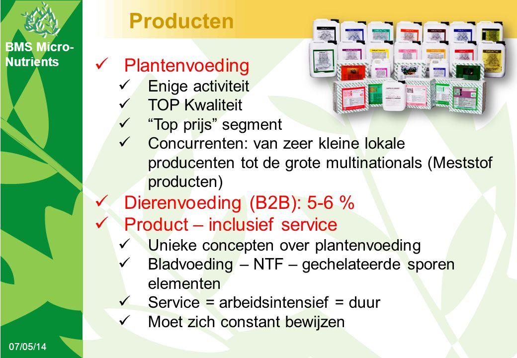 """BMS Micro- Nutrients Producten 07/05/14  Plantenvoeding  Enige activiteit  TOP Kwaliteit  """"Top prijs"""" segment  Concurrenten: van zeer kleine loka"""