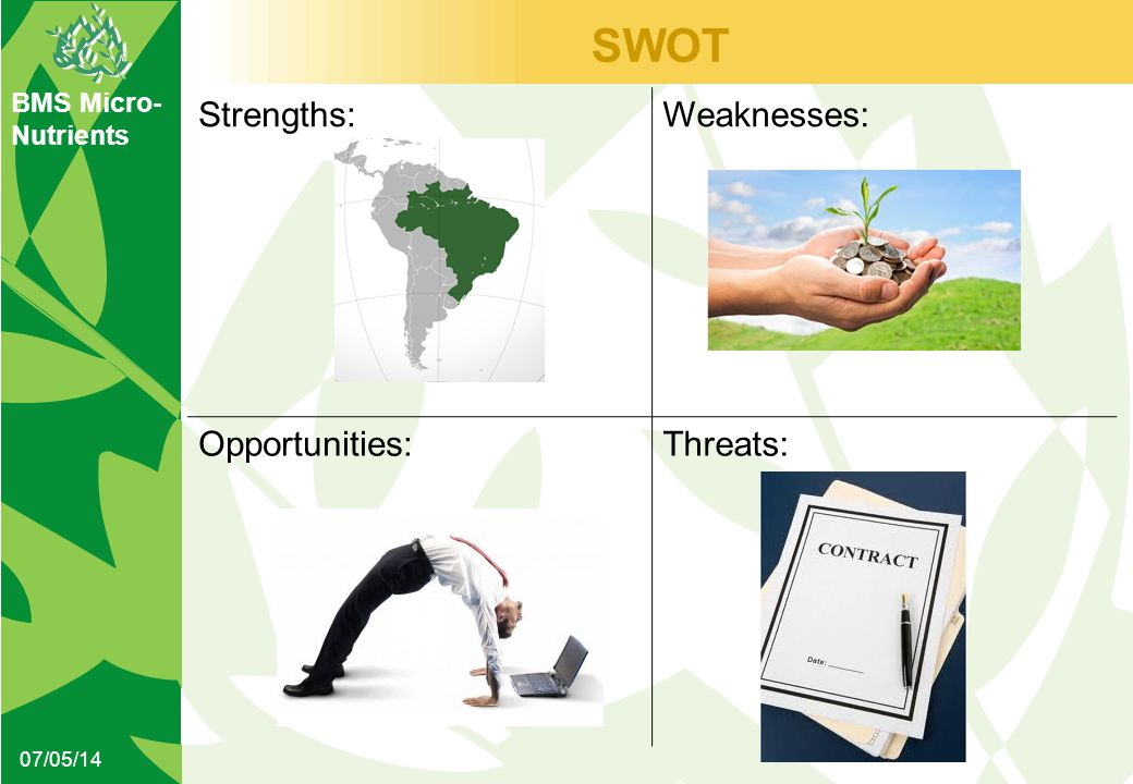 BMS Micro- Nutrients SWOT 07/05/14 Strengths:Weaknesses: Opportunities:Threats: