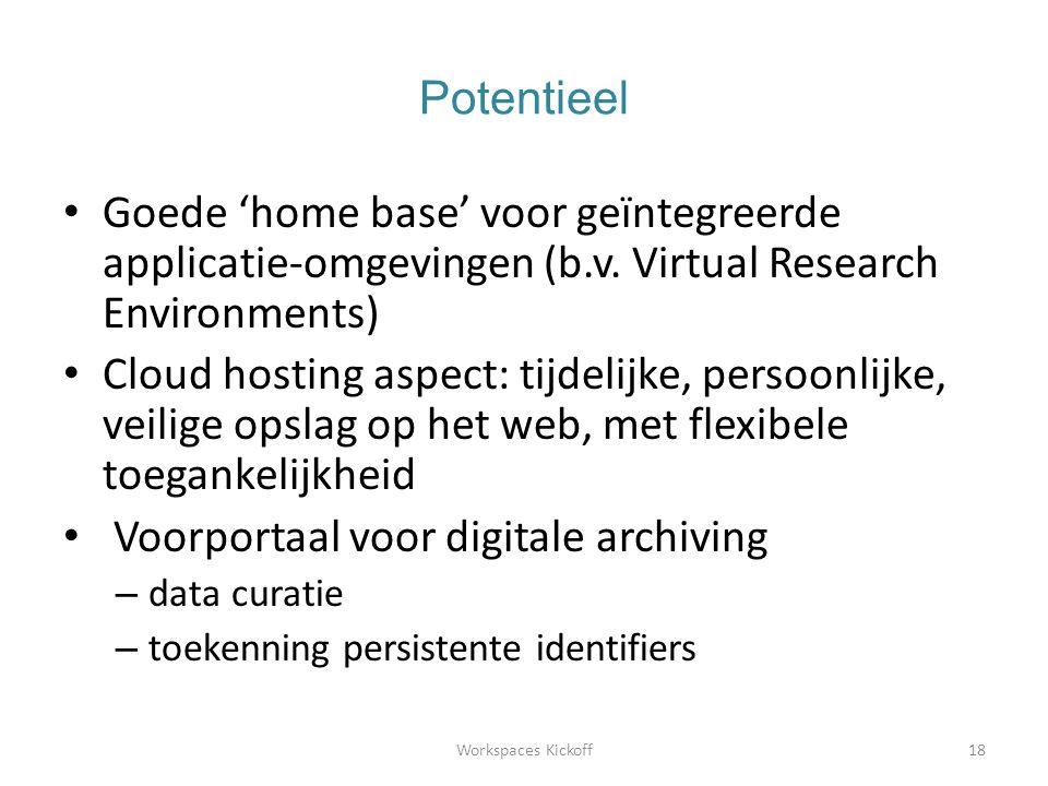 Potentieel • Goede 'home base' voor geïntegreerde applicatie-omgevingen (b.v.