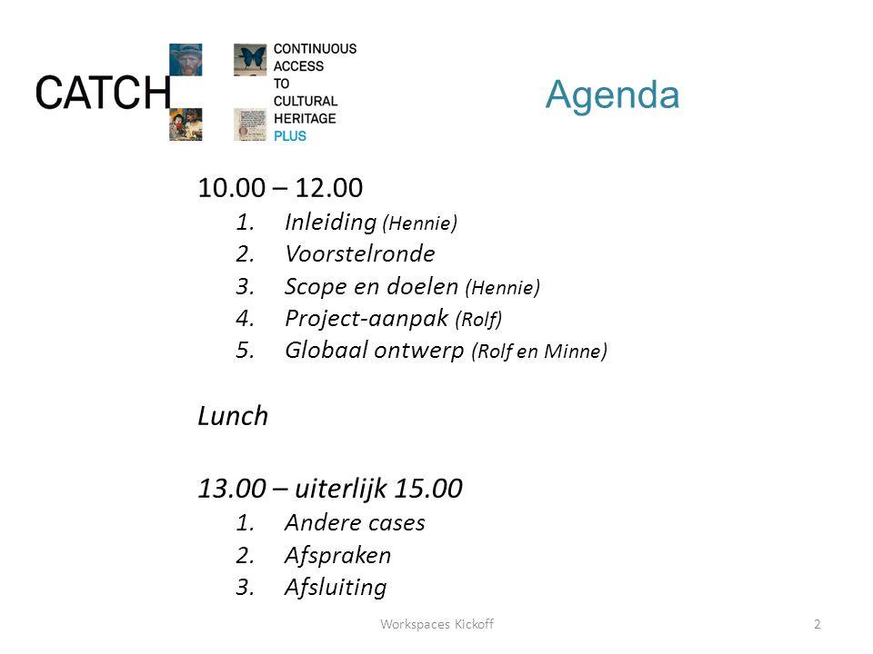 Agenda 10.00 – 12.00 1.Inleiding (Hennie) 2.Voorstelronde 3.Scope en doelen (Hennie) 4.Project-aanpak (Rolf) 5.Globaal ontwerp (Rolf en Minne) Lunch 13.00 – uiterlijk 15.00 1.Andere cases 2.Afspraken 3.Afsluiting 2Workspaces Kickoff