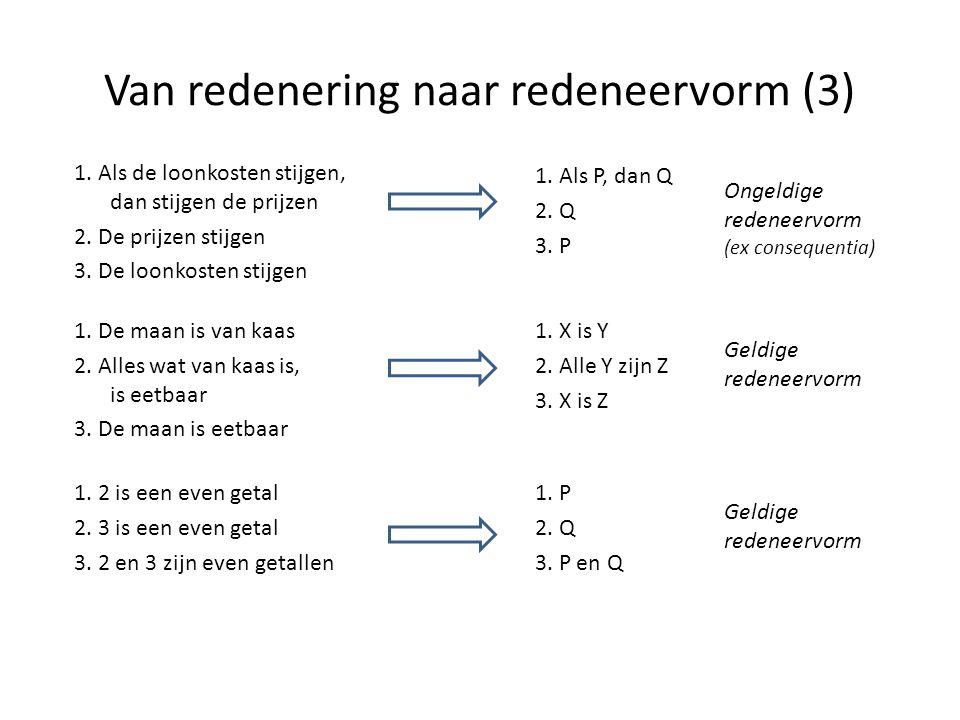 Van redenering naar redeneervorm (3) 1. Als P, dan Q 2. Q 3. P Ongeldige redeneervorm (ex consequentia) 1. X is Y 2. Alle Y zijn Z 3. X is Z Geldige r