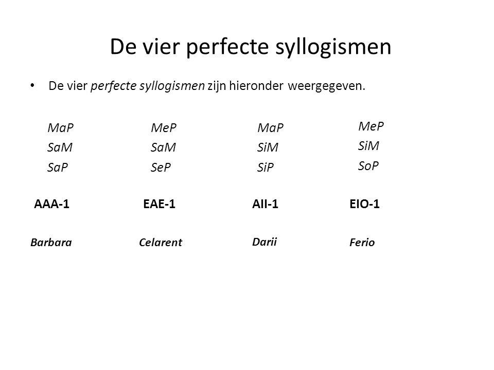 De vier perfecte syllogismen • De vier perfecte syllogismen zijn hieronder weergegeven. MaP SaM SaP MeP SaM SeP MaP SiM SiP MeP SiM SoP AAA-1EAE-1AII-
