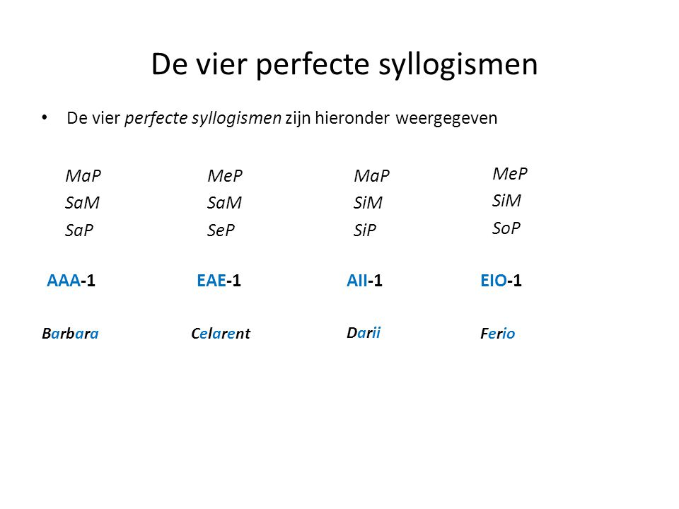 De vier perfecte syllogismen • De vier perfecte syllogismen zijn hieronder weergegeven MaP SaM SaP MeP SaM SeP MaP SiM SiP MeP SiM SoP AAA-1EAE-1AII-1