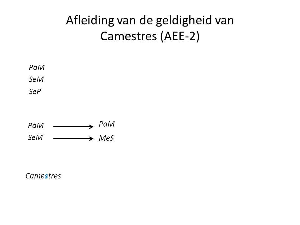 Afleiding van de geldigheid van Camestres (AEE-2) PaM SeM SeP PaM SeM Camestres PaM MeS