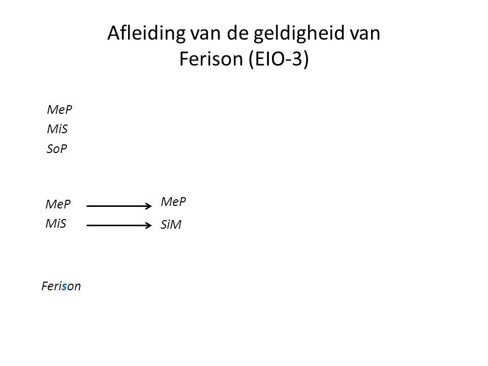 Afleiding van de geldigheid van Ferison (EIO-3) MeP MiS SoP MeP MiS Ferison MeP SiM