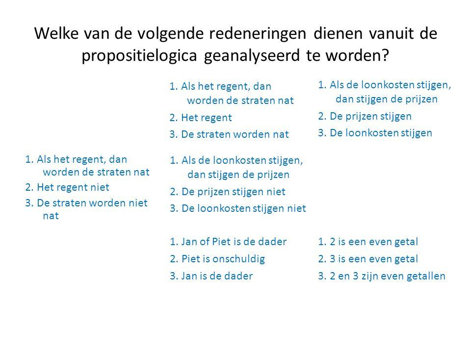 Welke van de volgende redeneringen dienen vanuit de propositielogica geanalyseerd te worden? 1. 2 is een even getal 2. 3 is een even getal 3. 2 en 3 z