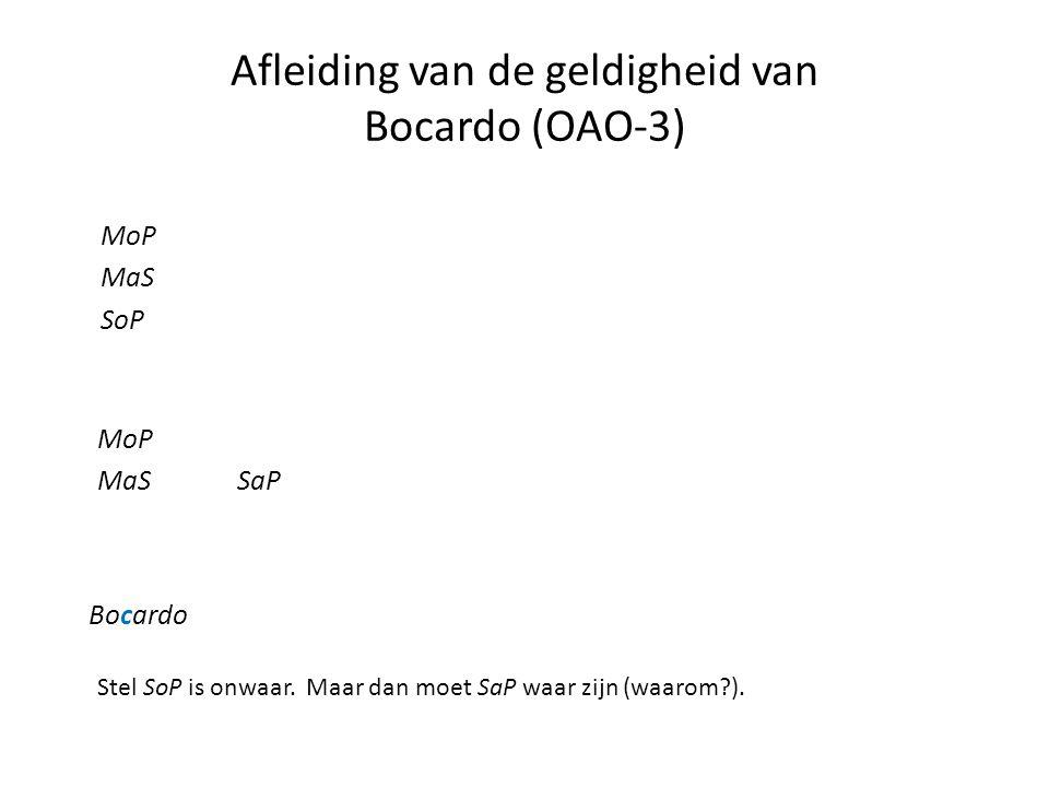Afleiding van de geldigheid van Bocardo (OAO-3) MoP MaS SoP MoP MaS Bocardo Stel SoP is onwaar. Maar dan moet SaP waar zijn (waarom?). SaP