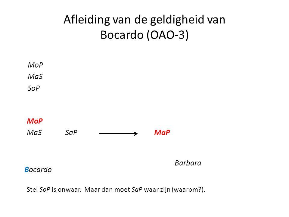 Afleiding van de geldigheid van Bocardo (OAO-3) MoP MaS SoP MoP MaS Bocardo SaP Barbara MaP Stel SoP is onwaar. Maar dan moet SaP waar zijn (waarom?).