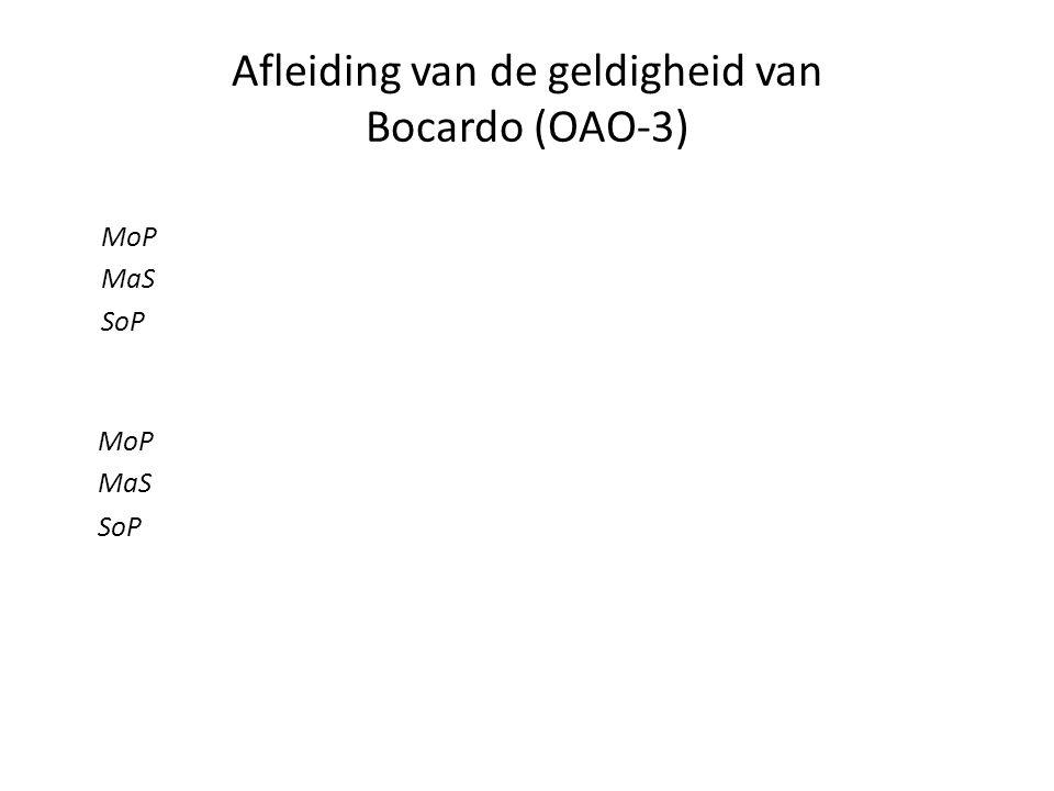 Afleiding van de geldigheid van Bocardo (OAO-3) MoP MaS SoP MoP MaS SoP