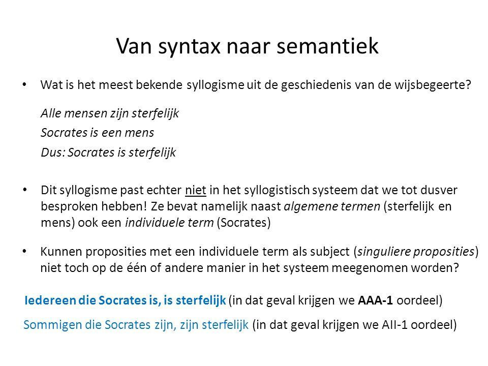 Van syntax naar semantiek • Wat is het meest bekende syllogisme uit de geschiedenis van de wijsbegeerte? Alle mensen zijn sterfelijk Socrates is een m