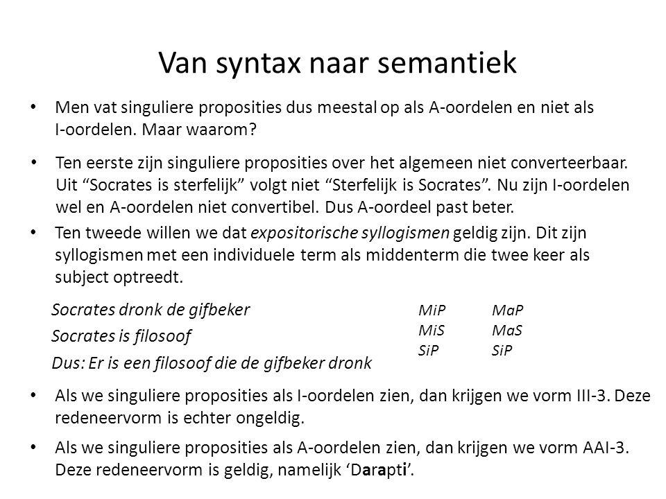 Van syntax naar semantiek • Men vat singuliere proposities dus meestal op als A-oordelen en niet als I-oordelen. Maar waarom? • Ten eerste zijn singul
