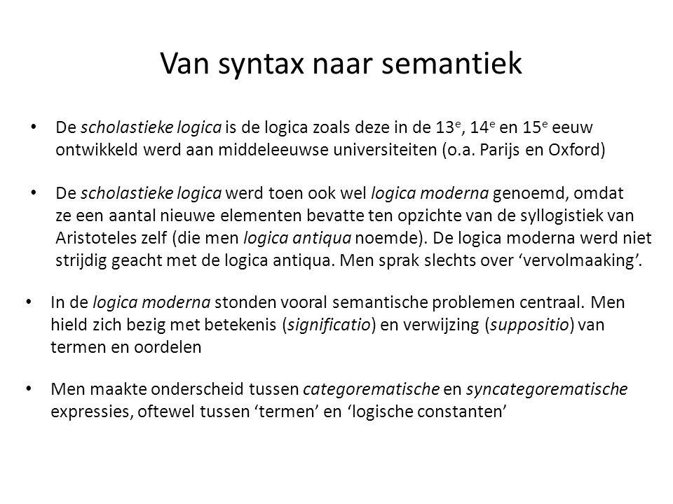 Van syntax naar semantiek • De scholastieke logica is de logica zoals deze in de 13 e, 14 e en 15 e eeuw ontwikkeld werd aan middeleeuwse universiteit