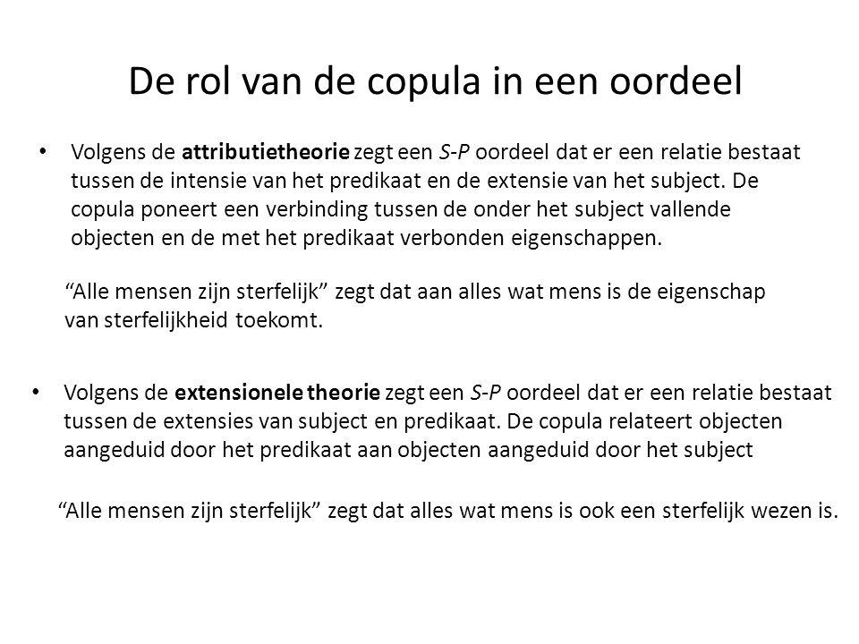 De rol van de copula in een oordeel • Volgens de attributietheorie zegt een S-P oordeel dat er een relatie bestaat tussen de intensie van het predikaa