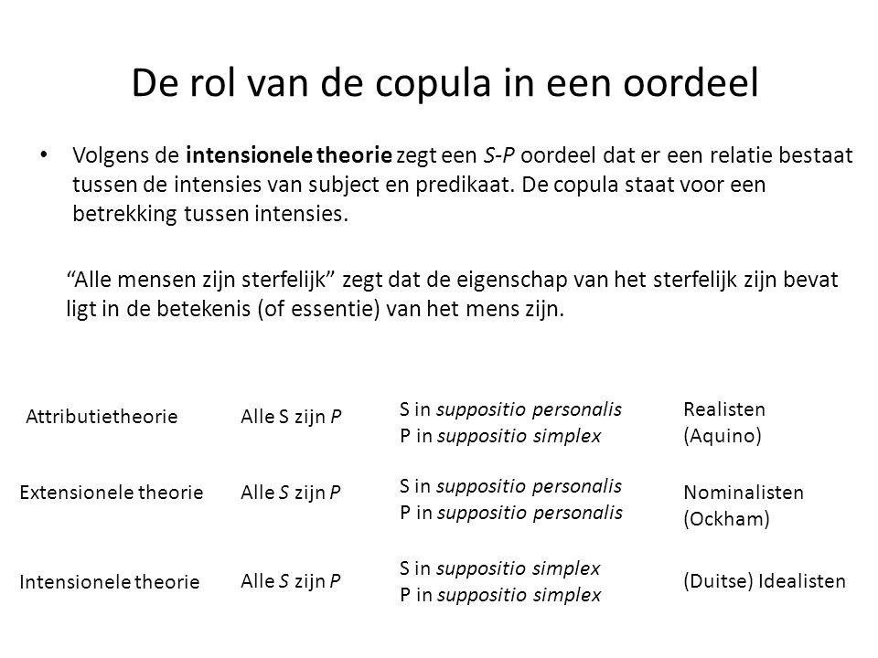 De rol van de copula in een oordeel • Volgens de intensionele theorie zegt een S-P oordeel dat er een relatie bestaat tussen de intensies van subject