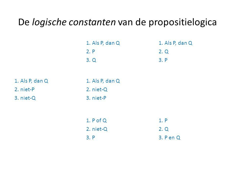De logische constanten van de propositielogica 1. Als P, dan Q 2. P 3. Q 1. Als P, dan Q 2. Q 3. P 1. Als P, dan Q 2. niet-P 3. niet-Q 1. Als P, dan Q