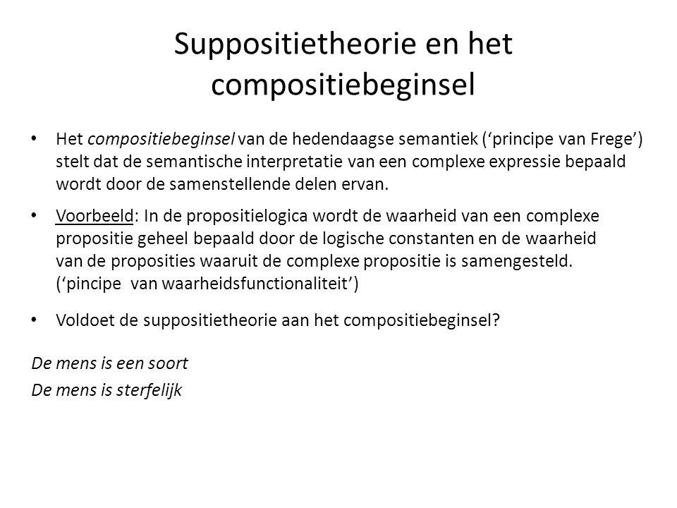 Suppositietheorie en het compositiebeginsel • Het compositiebeginsel van de hedendaagse semantiek ('principe van Frege') stelt dat de semantische inte